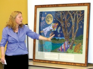 Painting unveiled at library